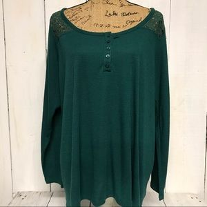 Torrid Green Lace 3/4 Sleeve Ribbed Top Size 3